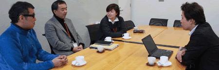 左から;渡邉究氏、渡辺伸一朗氏、小野敬子氏(※右は弊社幸松)