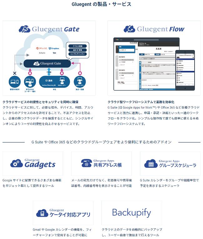 クラウドサービスSSOアクセス制御サービス『Gluegent Gate』とクラウド型ワークフローシステム『Gluegent Flow』を中心にGluegentシリーズを展開する株式会社グルージェントのWebサイト